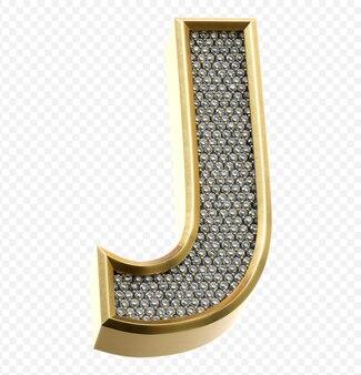 ダイヤモンド文字j分離3dレンダリング画像と豪華な黄金のアルファベット