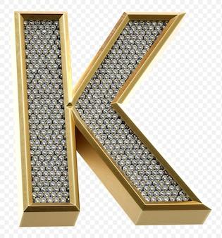 ダイヤモンドと豪華な黄金のアルファベット文字k分離3dレンダリング画像
