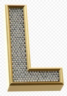 ダイヤモンド文字l分離3dレンダリング画像と豪華な黄金のアルファベット