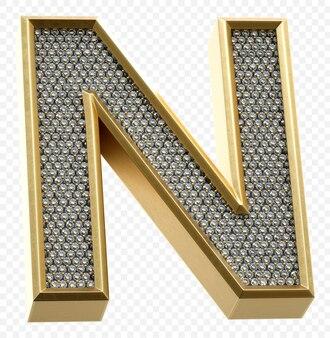 ダイヤモンド文字n分離3dレンダリング画像と豪華な黄金のアルファベット