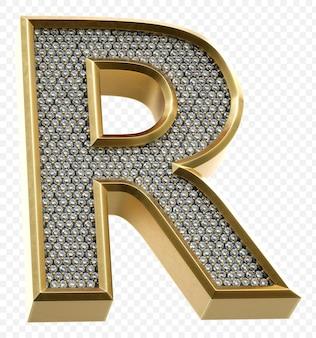 ダイヤモンド文字r分離3dレンダリング画像と豪華な黄金のアルファベット