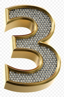 Luxury golden alphabet with diamonds number 3 isolated 3d render image