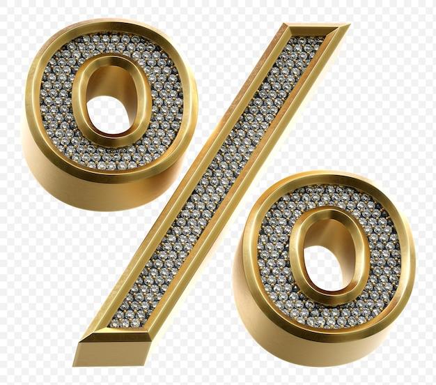 ダイヤモンドパーセント記号分離3dレンダリング画像と豪華な黄金のアルファベット