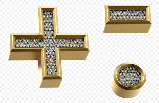 다이아몬드 기호로 럭셔리 황금 알파벳 격리 된 3d 렌더링 이미지