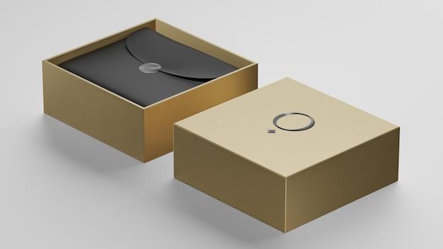 브랜드 아이덴티티 3d 렌더링을위한 럭셔리 황금 상자 로고 모형