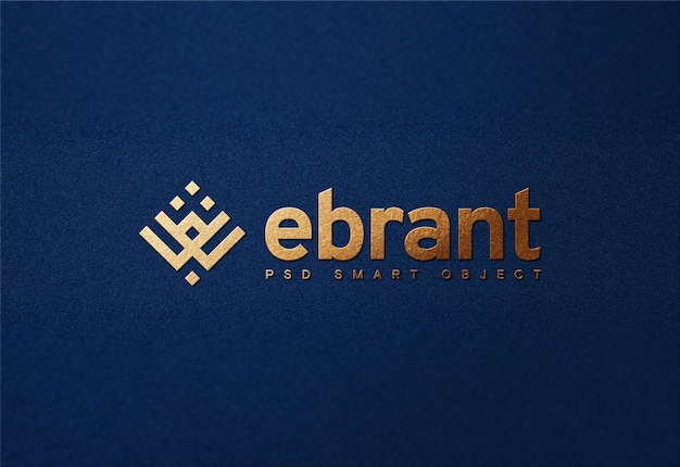 Luxury golden logo mockup on blue paper