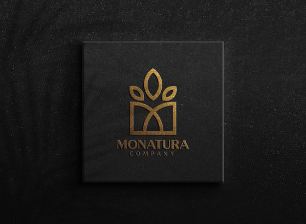 Luxury golden logo mockup on a box