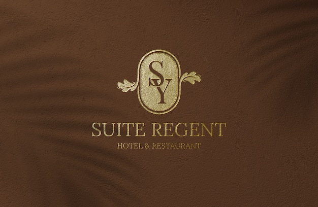 Luxury golden logo mockup on brown surface wall
