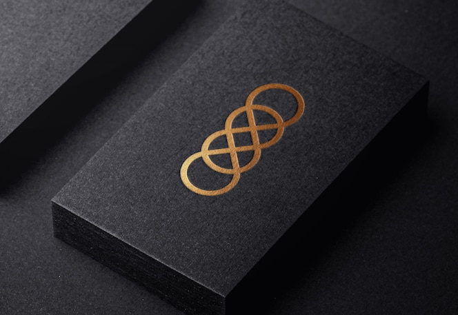Luxury golden logo mockup on embossed  business card