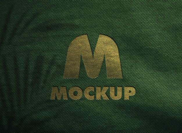 Luxury golden logo mockup on a fabric