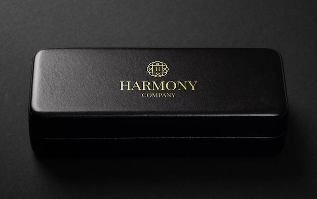 Luxury golden logo mockup on leather box