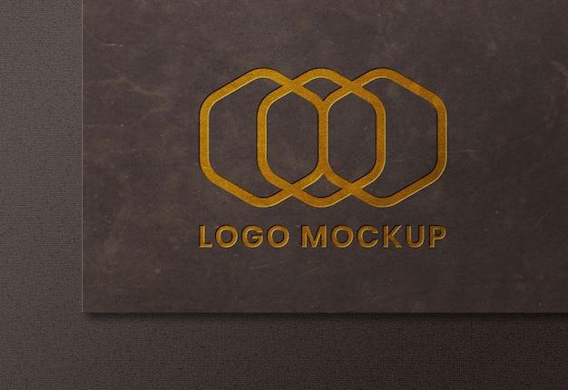 Luxury golden logo mockup on leather