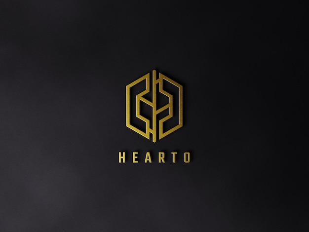 黒の表面に豪華なゴールデンロゴのモックアップ