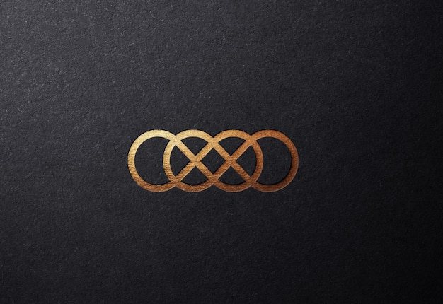 Luxury golden logo mockup on plain embossed surface