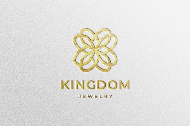 Luxury golden logo mockup in white paper with reflection