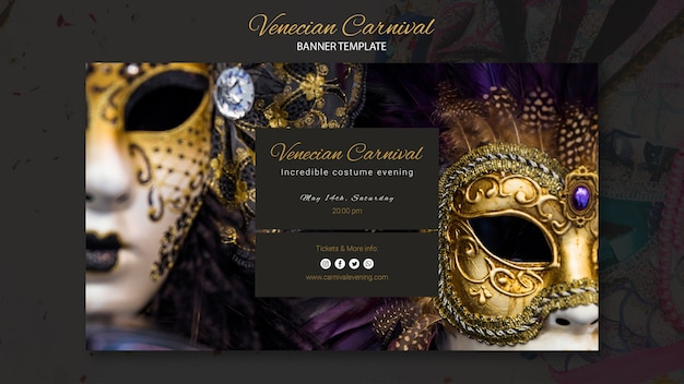 Luxury golden masks of venice carnival banner