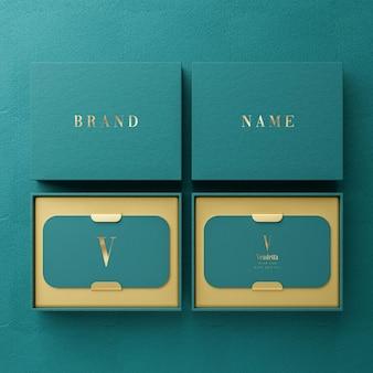 Роскошный зеленый макет логотипа визитницы для презентации фирменного стиля 3d визуализации