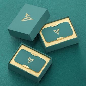 Роскошный зеленый макет визитницы для презентации фирменного стиля 3d визуализации