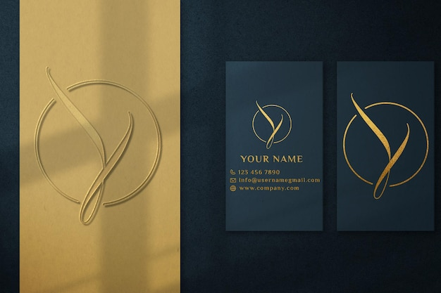 Luxury green business card logo mockup