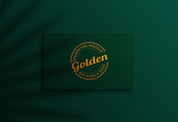 Luxury green and gold business card mockup design