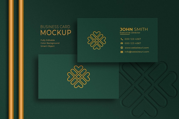 Luxury green and gold business card mockup