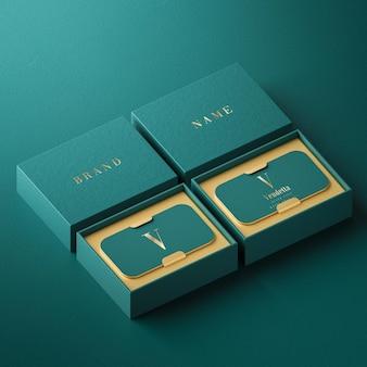 Роскошный зеленый макет держателя визитки высокой печати для фирменного стиля 3d визуализации