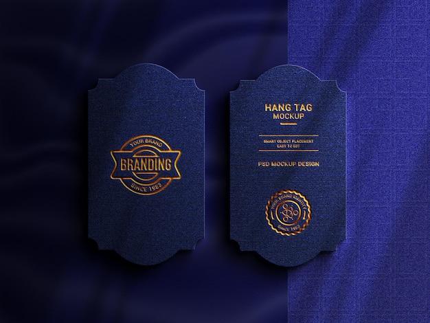 Luxury hang tag with logo mockup