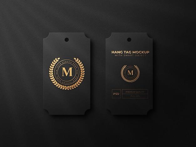 Luxury hangtag logo mockup with gold effect