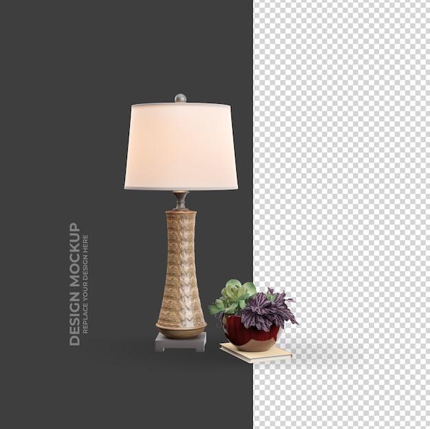 Роскошная интерьерная лампа и растение в горшке в рендеринге