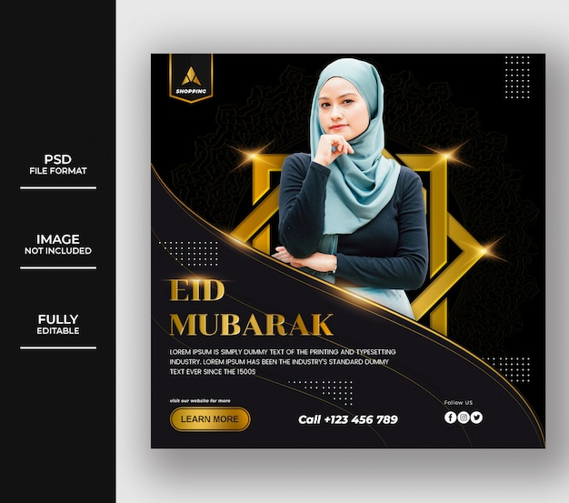 Luxury islamic eid mubarak social media post template design