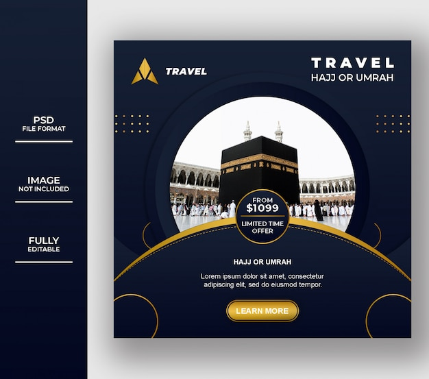 Luxury islamic umrah and hajj social media post template design