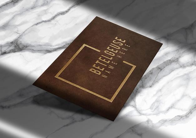 Luxury leather embossed business card mockup