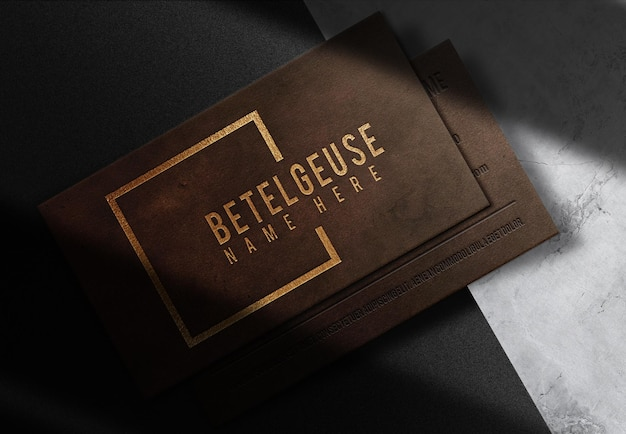 Luxury leather embossed business card prespective view mockup