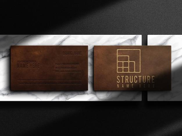 Роскошный кожаный макет визитной карточки с тиснением