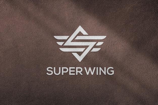 Luxury leather logo mockup template