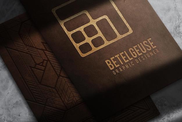 Luxury leather paper embossed mockup