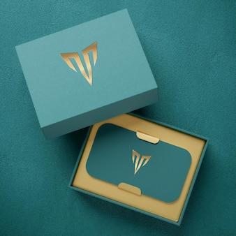 Роскошный макет логотипа держателя визитки высокой печати для презентации фирменного стиля 3d рендеринга