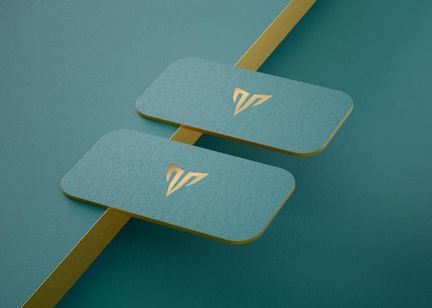 Роскошный макет держателя визитки высокой печати для презентации фирменного стиля 3d визуализации