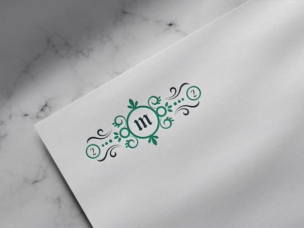Luxury letterpress logo mockup on white paper