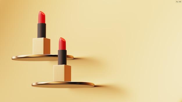 Luxury lipstick on gold background.