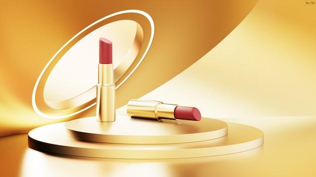 Luxury lipstick on gold stage podium.