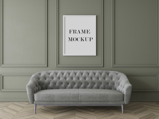 Luxury living room frame mockup with furniture