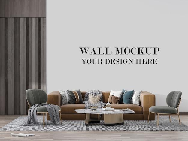 家具付きの豪華なリビングルームの壁のモックアップ