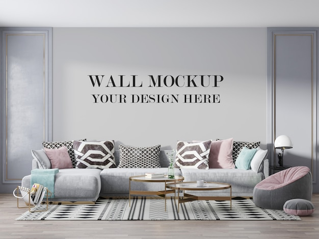 Luxury living room wall mockup with furniture