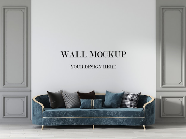 Luxury living room wall mockup with neo classic sofa Premium Psd