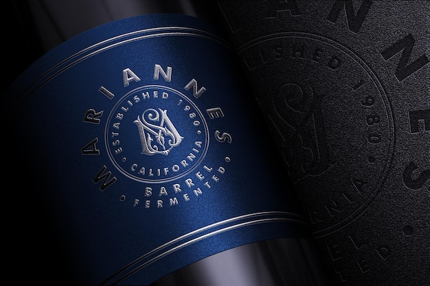 Luxury logo branding mockup on product label