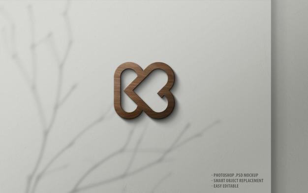 Luxury logo mockup 3d wood on wall