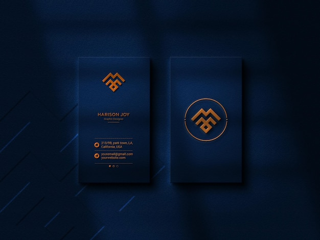 Luxury logo mockup on black business card wih emboss effect