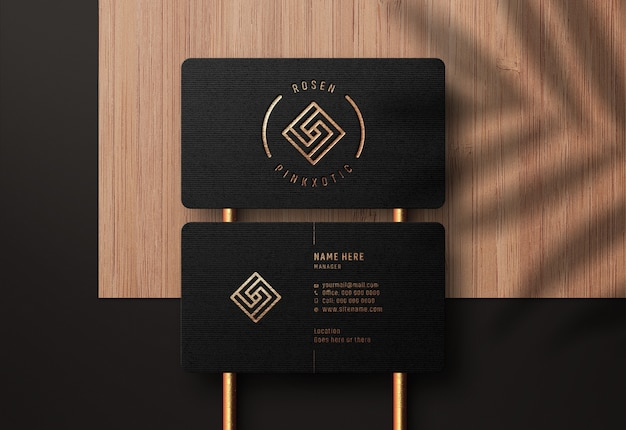 Luxury logo mockup on black business card