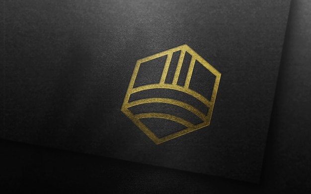 Luxury logo mockup on black card 3d